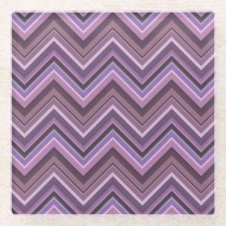 Posavasos De Vidrio Rayas de color de malva del zigzag