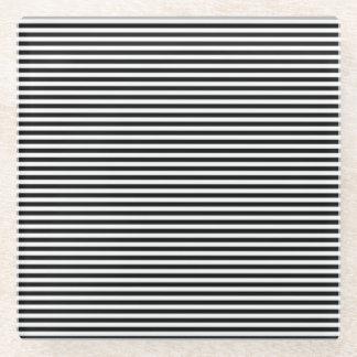 Posavasos De Vidrio Rayas horizontales en blanco y negro