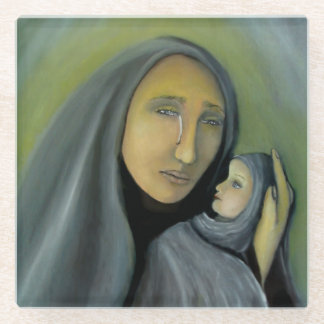Posavasos De Vidrio Virgen María que lleva a cabo Navidad religiosa de