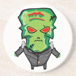 Posavasos Dibujo animado rojo y verde Halloween Frankenstein