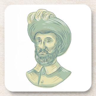 Posavasos Dibujo del busto de Juan Sebastian Elcano