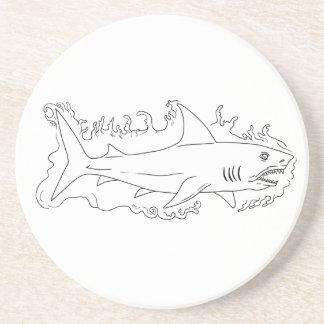 Posavasos Dibujo del lado del agua del tiburón