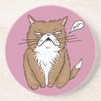 Posavasos Dibujo gruñón divertido del gato de Meh