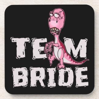 Posavasos Ducha nupcial del dinosaurio del rosa de la novia