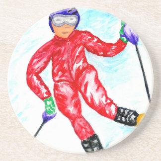 Posavasos Ejemplo del deporte del esquiador