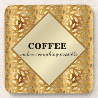 Posavasos El café lindo hace todo las hojas posibles del oro