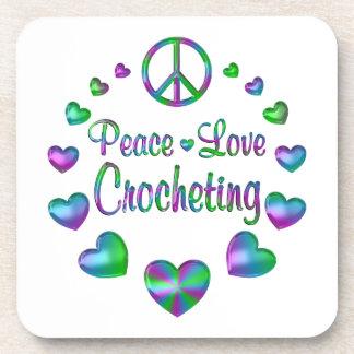 Posavasos El Crocheting del amor de la paz