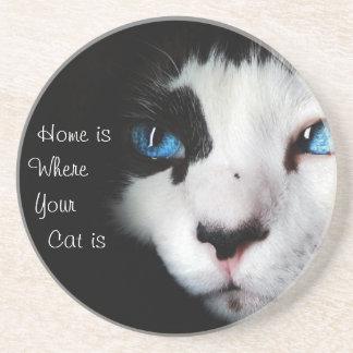 Posavasos El hogar es donde está su gato - negro y blanco