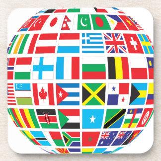 Posavasos El mundo señala el globo por medio de una bandera
