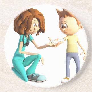 Posavasos Enfermera y Little Boy del dibujo animado