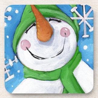 Posavasos Escarchado el muñeco de nieve feliz