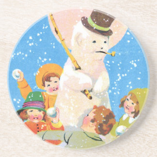 Posavasos Escarchado el muñeco de nieve y los niños