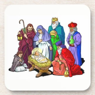 Posavasos Escena colorida de la natividad del navidad