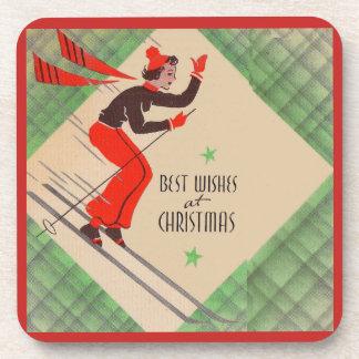 Posavasos esquiador del navidad de los años 50