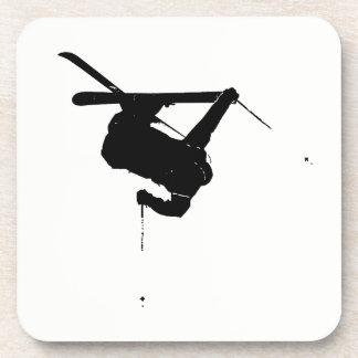 Posavasos Esquiador negro y blanco