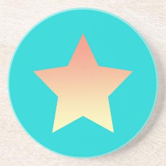 Posavasos Estrella anaranjada brillante en azul