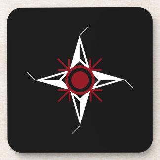 Posavasos Estrella del norte roja y del blanco simple en
