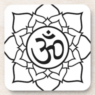 Posavasos Flor de Lotus, negra con el fondo blanco