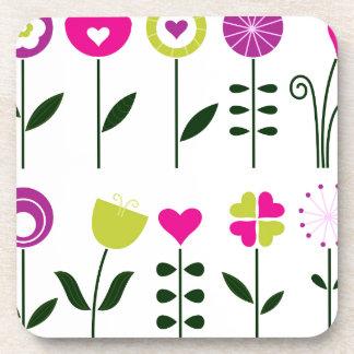Posavasos Flores populares de lujo en blanco