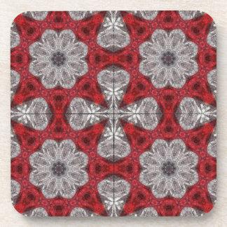 Posavasos Flores y cruces grises en rojo texturizado