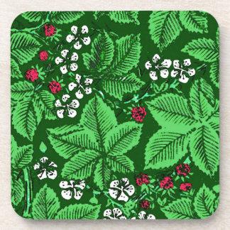 Posavasos Fresas y hojas, verde esmeralda de Nouveau del