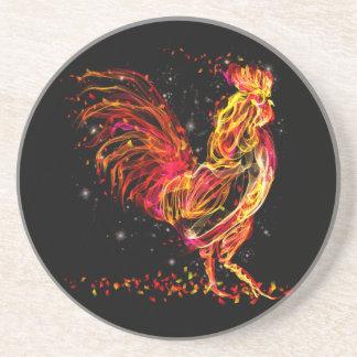 Posavasos Gallo del fuego. Diseño fresco de la chispa animal
