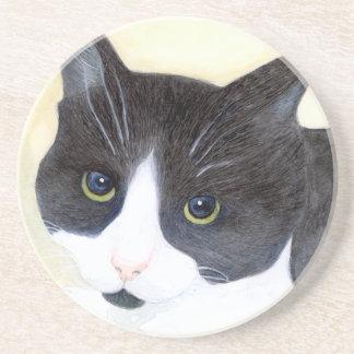 Posavasos Gato blanco y negro