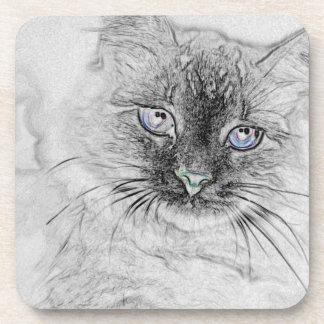 Posavasos Gato siberiano del gatito Napping en la losa de