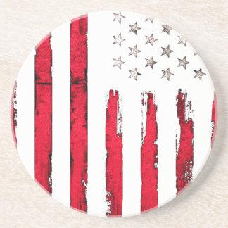 Posavasos Grunge del rojo de la bandera americana