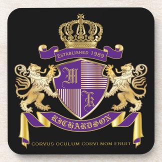 Posavasos Haga su propio emblema de la corona del monograma