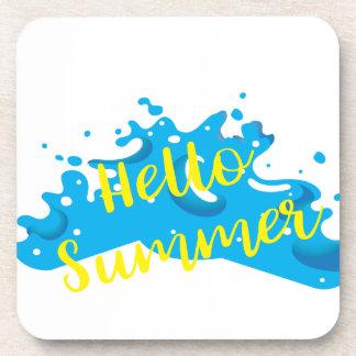 Posavasos Hola verano, gráfico de las ondas, blanco fresco