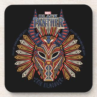 Posavasos Icono tribal negro de la máscara de la pantera el
