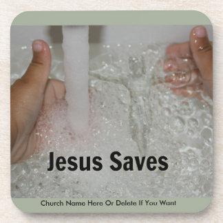 Posavasos Jesús en agua con dos pulgares sube la promoción