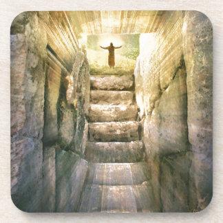 Posavasos Jesús en la resurrección vacía de Pascua de la