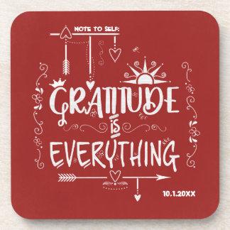 Posavasos La gratitud es todo nota a la pizarra del uno