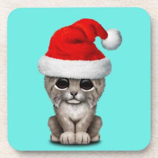 Posavasos Lince lindo Cub que lleva un gorra de Santa
