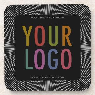 Posavasos Logotipo de Square Black Custom Plastic Coasters