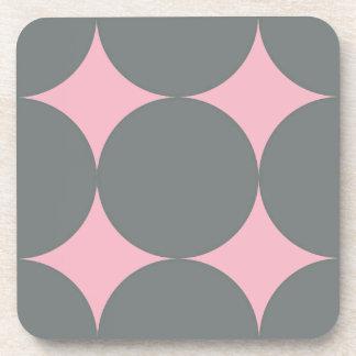 Posavasos Lunares grises en modelo retro rosado