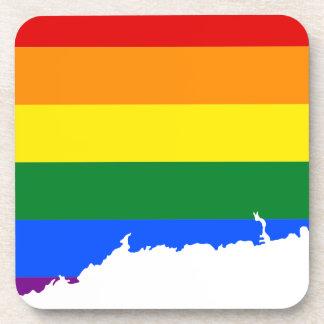 Posavasos Mapa de la bandera de Connecticut LGBT