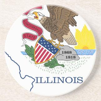 Posavasos Mapa de la bandera de Illinois