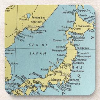 Posavasos Mapa del vintage de los prácticos de costa de