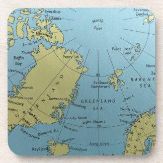 Posavasos Mapa del vintage de Polo Norte