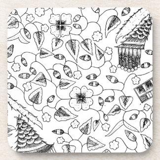 Posavasos Materia textil indonesia florida con los pájaros