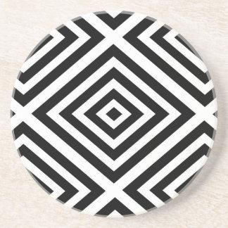 Posavasos Modelo geométrico abstracto - blanco y negro.