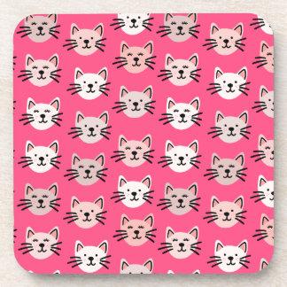 Posavasos Modelo lindo del gato en rosa
