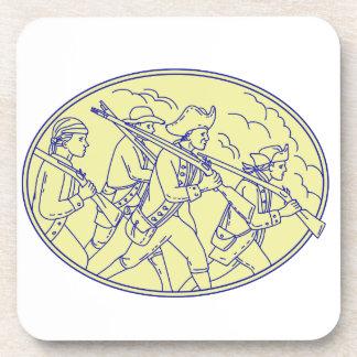Posavasos Mono oval que marcha de los soldados