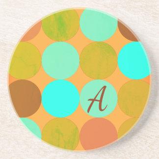 Posavasos Monograma de los círculos del verde y del naranja