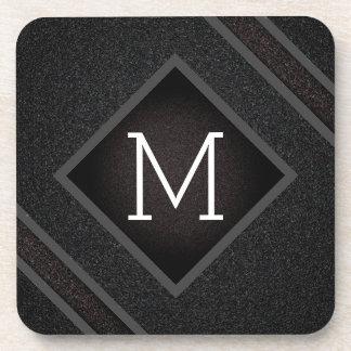 Posavasos Monograma de piedra negro arenoso moderno de la