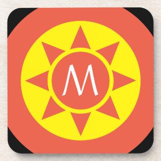 Posavasos Monograma rubricado brillo amarillo y anaranjado