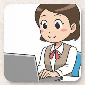 Posavasos Mujer en el ordenador portátil
